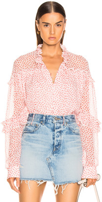 Jonathan Simkhai Speckle Print Buttoned Top in Hibiscus & Red Print | FWRD