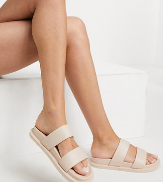 ASOS DESIGN Wide Fit Friday jelly flat sandals in beige