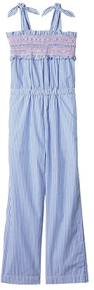 crewcuts by J.Crew Woven Jumpsuit (Toddler/Little Kids/Big Kids) (White/Blue) Girl's Jumpsuit & Rompers One Piece