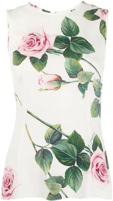 Dolce & Gabbana Floral Print Sleeveless Top