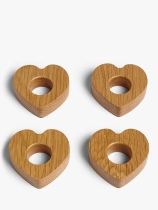 John Lewis & Partners Heart Shape Oak Wood Napkin Rings, Set of 4, Natural