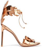 Francesco Russo Mirrored-leather Sandals - Gold