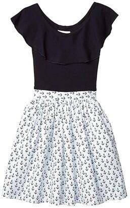 fiveloaves twofish Ruffle Collar Abbie Dress Anchors (Toddler/Little Kids/Big Kids) (Navy) Girl's Dress