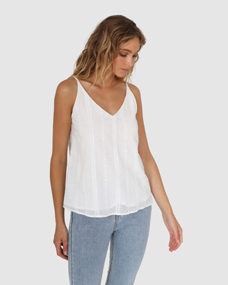 Lost in Lunar - Women's White Sleeveless Tops - Carina Cami - Size One Size, 6 at The Iconic