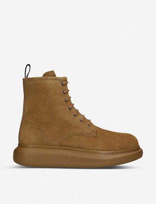 Alexander McQueen Hybrid lace-up suede ankle boots