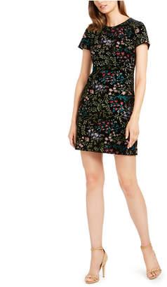 Calvin Klein Embroidered-Velvet Sheath Dress