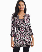 White House Black Market 3/4-Sleeve Matte Jersey Printed Tunic