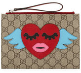 Gucci Girls' GG Supreme Flying Heart Wristlet Bag, Beige