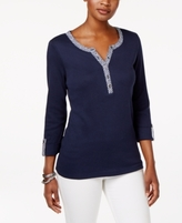 Karen Scott Petite Cotton Printed-Trim Henley Top, Created for Macy's