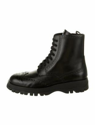 Prada Brogue Combat Leather Combat Boots w/ Tags Black