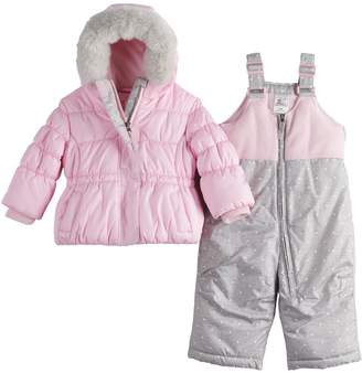 ZeroXposur Baby Girl Snow Bib and Outer Puffer Jacket Set