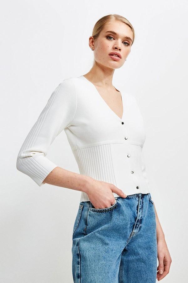 Karen Millen Long Sleeve Rib Knitted Cardigan