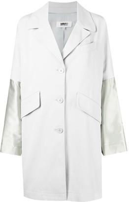 MM6 MAISON MARGIELA Contrast-Sleeve Single-Breasted Coat