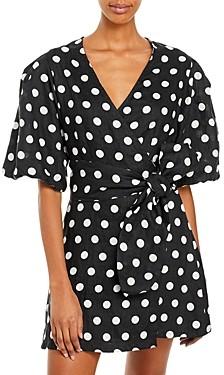 Faithfull The Brand Godiva Polka Dot Wrap Dress