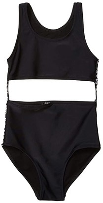 Balmain Kids Monokini w/ Logo Band Down The Side (Big Kids) (Black) Girl's Swimsuits One Piece