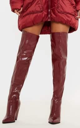 PrettyLittleThing Burgundy Thigh High Cone Heel Boot