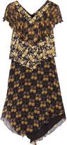 Anna Sui Ruffled tiered printed silk-chiffon dress
