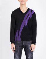 DSQUARED2 Metallic-print lurex knitted jumper