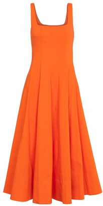 STAUD Wells stretch-cotton midi dress