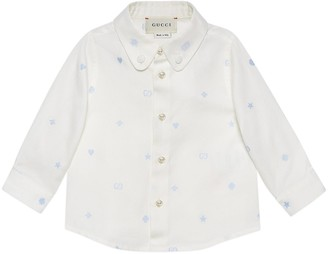 Gucci Baby symbols embroidered Oxford cotton shirt