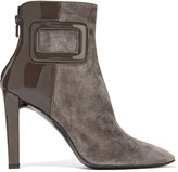 Roger Vivier Patent leather-paneled suede ankle boots