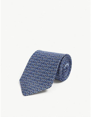 Salvatore Ferragamo Gianco Link-print silk tie