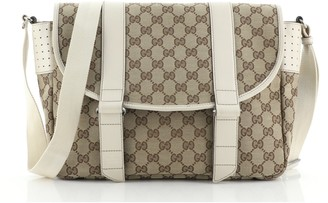 Gucci Double Belt Flap Messenger GG Canvas with Perforated Leather Medium