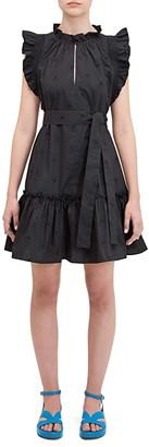 Kate Spade Embroidered Poplin Mini Dress (Black) Women's Dress