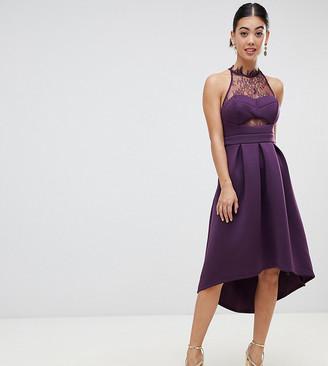 Asos Halter Lace Top Dip Back Prom Dress-Purple