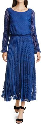 Emporio Armani Long Sleeve Devore Dot Dress