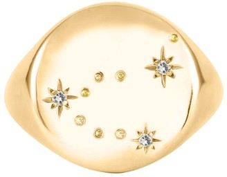 No 13 Capricorn Constellation Signet Ring - Diamonds & Solid Gold