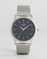 Limit Carbon Fibre Dial Mesh Watch In Silver Exclusive To Asos