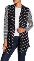 Jones New York Stripe Open Front Cardigan