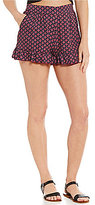 Living Doll Tile-Print High Rise Side-Pocket Ruffle Soft Shorts