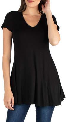 24/7 Comfort Apparel V Neck Short Sleeve Loose Fit Tunic Top