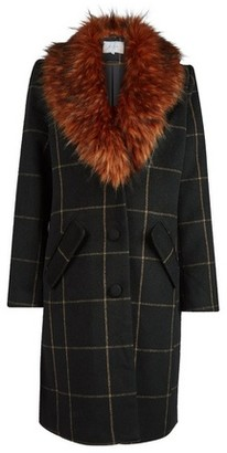 Dorothy Perkins Womens Vila Black Check Print Wool Look Coat, Black