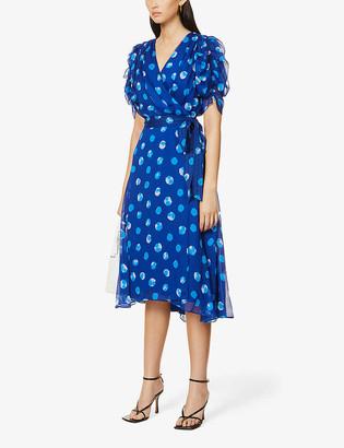 Diane von Furstenberg Kimora polka dot-print wrap crepe midi dress