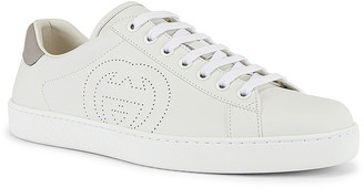 Gucci New Ace Sneaker in White & Grey | FWRD