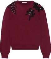 Oscar de la Renta Appliquéd Wool Sweater - Burgundy
