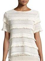Joie Rafel Short-Sleeve Fringed Crochet Top, Natural