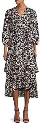 Calvin Klein Leopard-Print Belted Wrap Dress