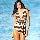 JCPenney a.n.a® Deep V-Neck One-Piece Swimsuit