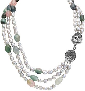Michael Aram Botanical Leaf Silver Tourmaline & 7Mm Pearl Necklace