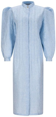 Asneh Blue Rose Linen Shirt Dress With Puff Sleeves