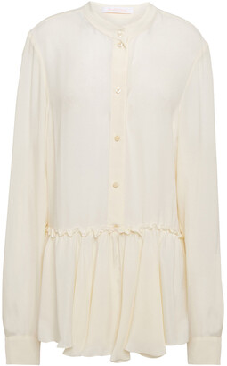See by Chloe Fluted Gathered Crepe De Chine Blouse