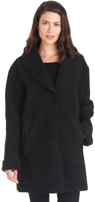 Fleet Street Women's Faux-Shearling Shawl Collar Coat
