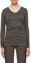 Akris Punto Ruched Long-Sleeve Tee, Olive