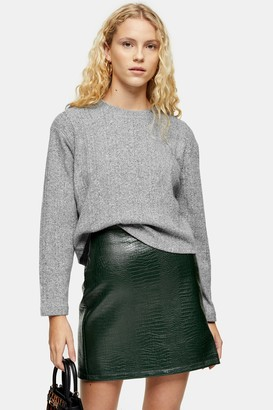 Topshop Womens Grey Split Back Cut And Sew Jumper - Grey Marl