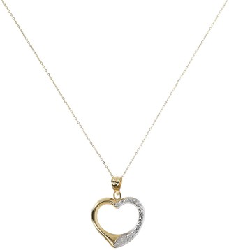 Italian Gold Two-Tone Open Heart Pendant w/ Chain, 18K