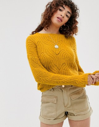 Only stitch detail knitted jumper-Yellow